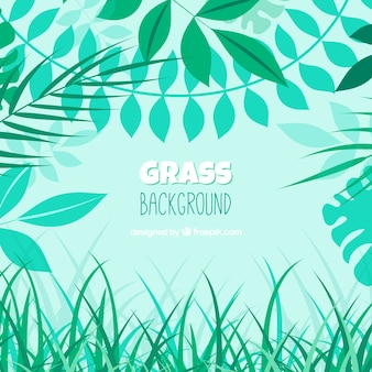 Natural background with grass and leaves