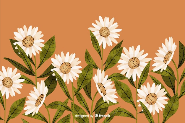 Natural background with hand drawn flowers