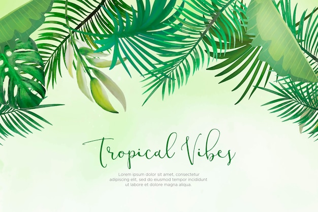 Natural background with hand painted tropical leaves