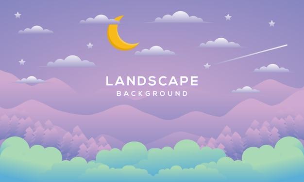 평면 디자인 스타일로 밤 분위기와 산과 달과 자연 배경