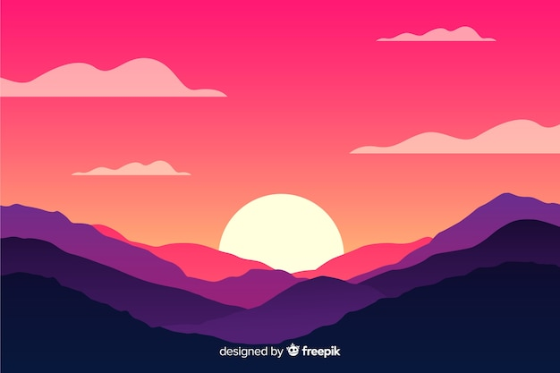 Natural background with mountains landscape and sun