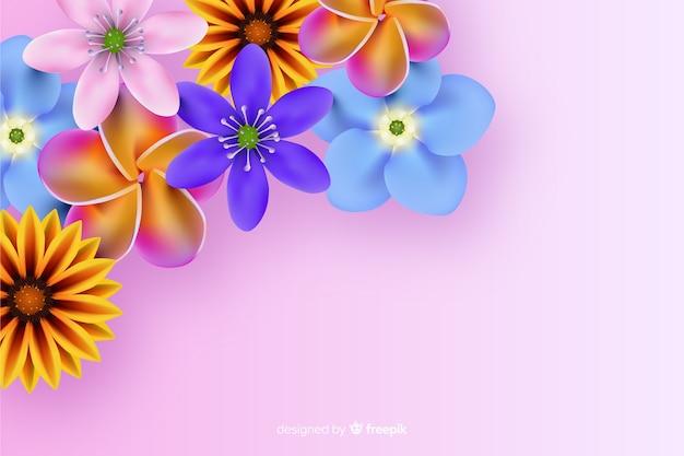 현실적인 꽃과 자연 배경