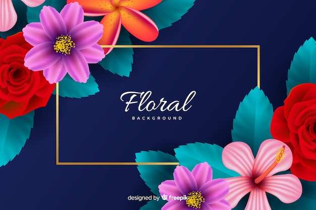 Natural background with realistic flowers