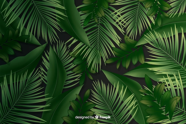 Natural background with realistic leaves