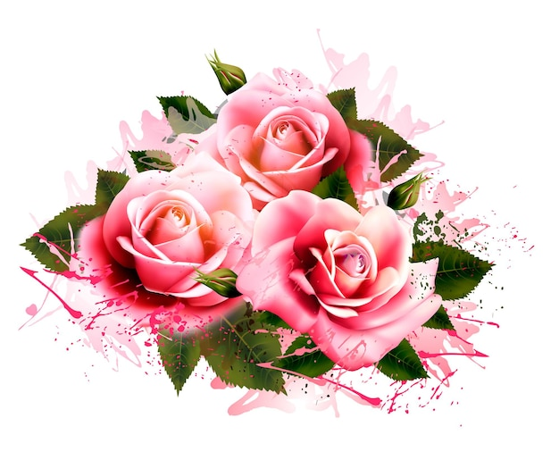 バラと自然な背景。ヴィンテージベクトル。