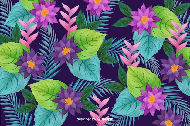 Natural background with tropical flowers
