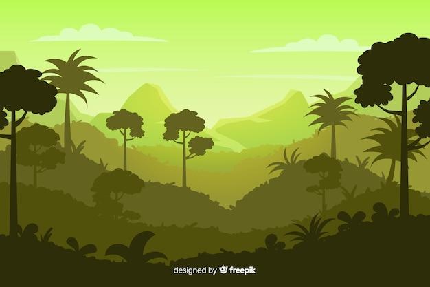 熱帯林の風景と自然な背景