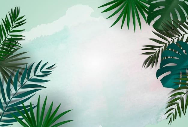熱帯のヤシとモンステラの葉の自然な背景