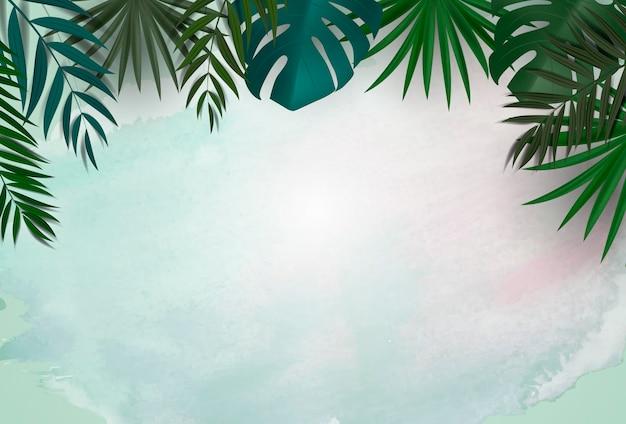Естественный фон с тропическими пальмами и листьями монстеры