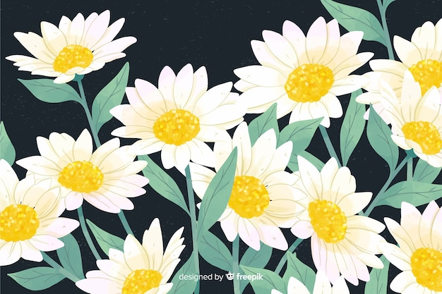 Natural background with watercolor daisies