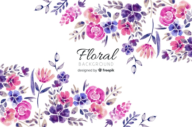 Natural background with watercolor flowers