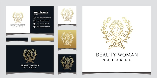 Natural beautiful woman logo with beautiful face line art style and business card design.