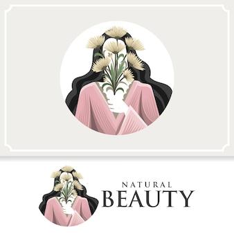 Естественная красивая женщина векторный логотип с цветами