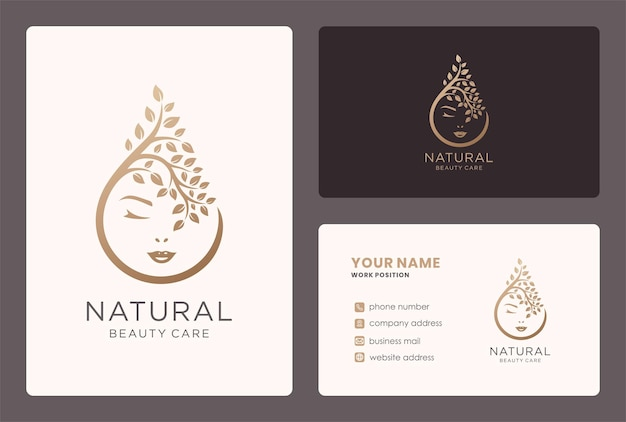Natural beauty care logo design with face and branch element.