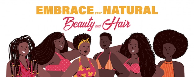 Natural beauty concept with african women  cartoon  illustration.