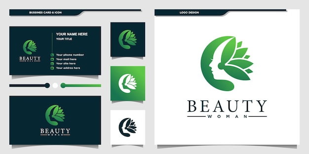 Natural beauty logo design with combination women face and floral design logo premium vector
