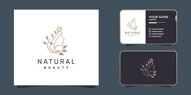 Логотип natural beauty с креативной концепцией женского лица premium векторы