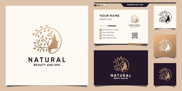 Natural beauty logo with unique concept and business card design premium vector