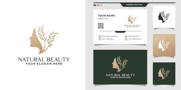 여성의 얼굴과 명함 디자인이 있는 자연의 아름다움 로고