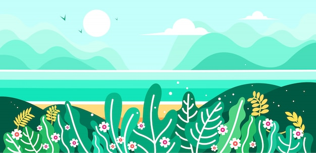 산, 해변, 바다의 자연미