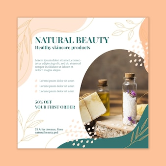 Natural beauty squared flyer template