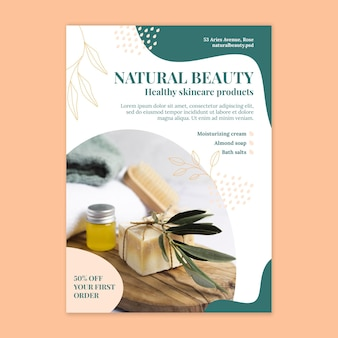 Natural beauty vertical flyer template