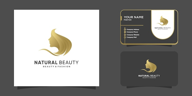 Natural beauty with golden color and unique woman face concept premium vector