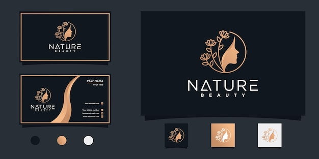 Natural beauty woman face logo with beauty golden gradient style premium vector