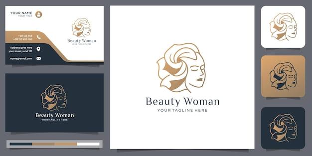 아름다운 머리 스타일의 황금색 스타일과 명함 템플릿 디자인이 있는 자연미인 얼굴 로고