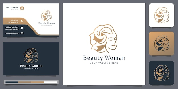 Natural beauty woman face logo with beauty hair style golden style and business card template design