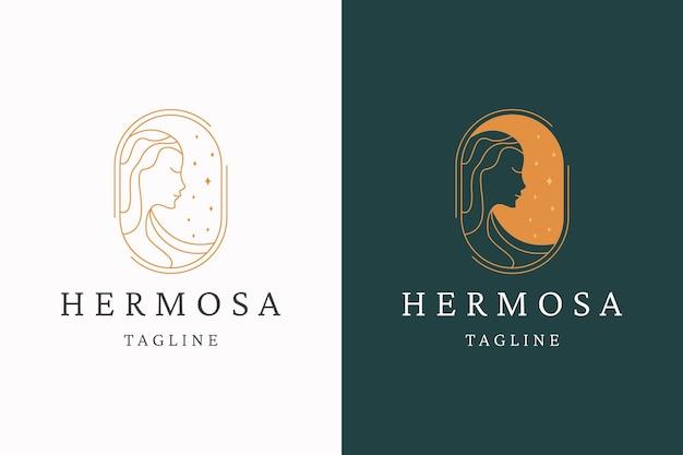 Natural beauty woman logo icon design template flat vector