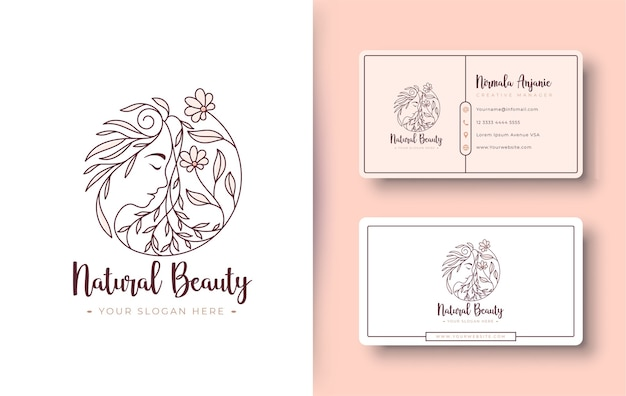Natural beauty women logo and business card design