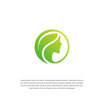 Женщины и лист. шаблон дизайна логотипа natural beauty