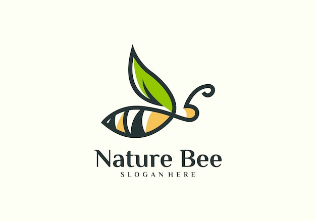 Natural bee logo vector