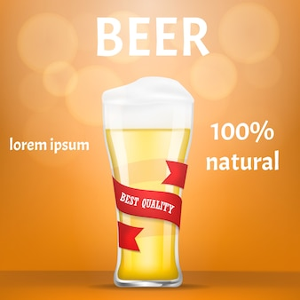 Natural beer concept banner, realistic style