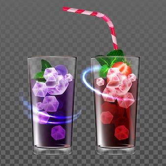 천연 열매 다과 육즙 음료 벡터입니다. 유리에 딸기와 블루베리 또는 블랙베리 주스 성분과 민트 잎으로 만든 차가운 칵테일 음료. 템플릿 현실적인 3d 일러스트
