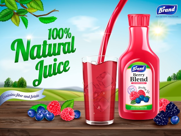 Natural berry blend juice ads illustration