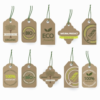 Natural bio organic cardboard label set.