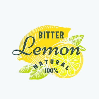 Natural bitter lemon abstract  sign, symbol or logo template. hand drawn lemons with premium vintage typography. stylish classy  emblem or label concept.