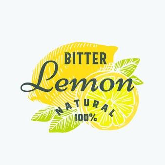 Природный горький лимон абстрактный знак, символ или шаблон логотипа. рисованные лимоны с премиальной винтажной типографикой. стильная стильная эмблема или концепция ярлыка.