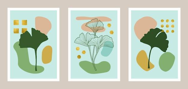 금박 요소가 있는 천연 식물 예술 세트