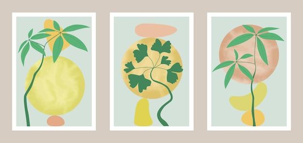 Натуральный ботанический настенный набор с элементами акварели узор для принтов на обложках и текстильных принтах