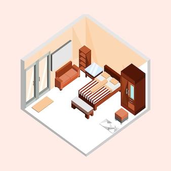 Дизайн натурального коричневого изометрического интерьера