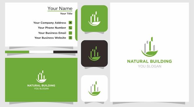 Логотип естественного здания и визитная карточка