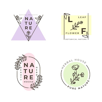 Natural business logo collection in minimal style