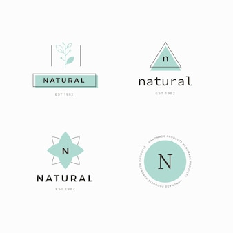 Natural business logo collection template  in minimal style