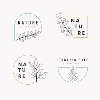 Natural business logo set template in minimal style