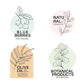 Натуральный бизнес логотип шаблон коллекции в минималистском стиле