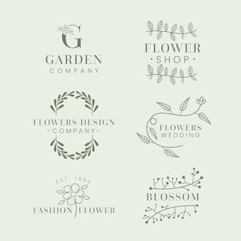 Коллекция шаблонов логотипа natural business в минимальном стиле