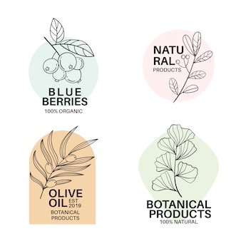 Natural business logo template collection in minimal style